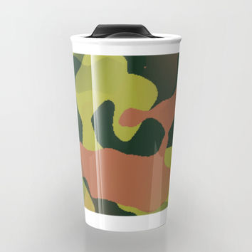Green and Brown Camouflage Travel Mug by 11penguingirl