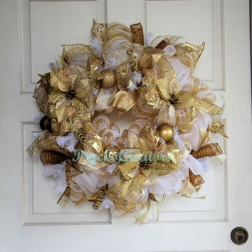 Wedding Deco Mesh Wreath - Bridal Wreath - Engagement Party - Gold White Wreath
