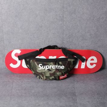 """Supreme"" Unisex Casual Fashion Camouflage Print Letter Zip Waist Bag Couple Sport Waterproof Single Shoulder Messenger Bag"