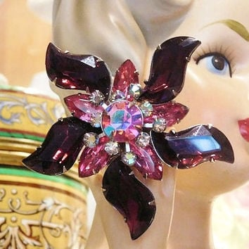 1960s 60s Mid Century Rhinestone Brooch Judy Lee Verified Unsigned Brooch Glass Rhinestones AB Aurora Borealis Hollywood Regency