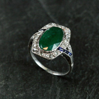 Art Deco Emerald, Diamond & Sapphire Engagement Ring by Ruby Gray's | Ruby Gray's