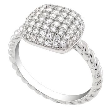 .925 Sterling Silver Micro Pave Engagement Ladies Ring Size 5-10 Round Cut