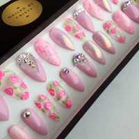 Pink Floral Press On Nails | Glitter Nails | Real Swarovski Crystals | Handpainted Nail Art | Fake Nails | False Nails | Stiletto Coffin