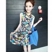 Retro Style Picture Printed Fashion Dress, Buy Retro Style Picture Printed Fashion Dress with cheapest price|wholesale-dress.net