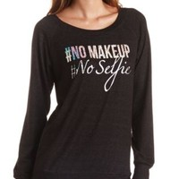 No Makeup Holographic Tunic Sweatshirt by Charlotte Russe - Black