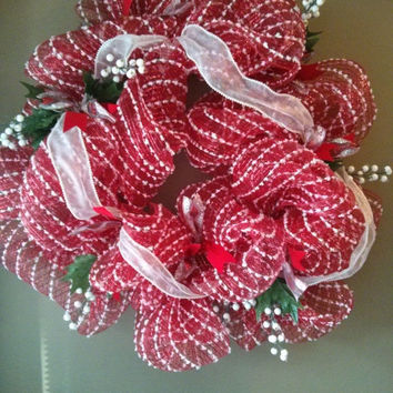 ON SALE Red & White Deco Mesh Wreath