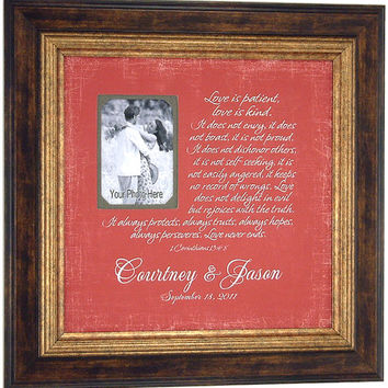 Personalized Wedding Gift, Groom Gift, LOVE IS PATIENT, 1 Corinthians, Wedding Decoration, Sign, Centerpiece, Wedding Song, Lyrics, 16 X 16