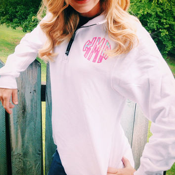 SALE!!!  The Featured- Lilly Pulitzer preppy quarter zip sweatshirt. Lilly P appliquéd monogram and side pockets
