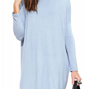 Light Blue Casual Long Sleeves Dress