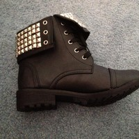 Studded ankle combat booties