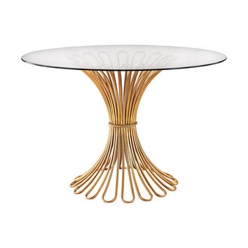 1114-203 Flaired Rope Entry Table In Gold Leaf And Clear Glass - Free Shipping!