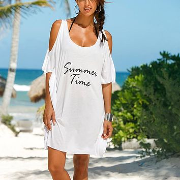 2017 Hot women Summer Beach blouse Dresses Women Beach Dress Tunic Off Shoulder Cotton Letter Printed Robe Femme Dress