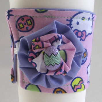 Hello Kitty Easter Coffee Cup Cozy / Easter Egg Drink Sleeve