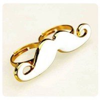 White Moustache Mustache Adjustable Ring Gold Accents