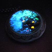 Glow Galaxy Map Pendant - Mass Effect - Glow in the Dark Locket Necklace