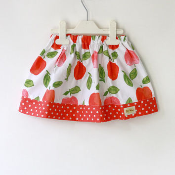 apple skirt, girl's skirt in coral and green. Summer skirt, baby skirt, toddler skirt