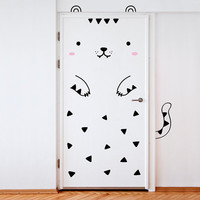 Tofu the Tiger Door decal / Wall decal for doors, windows or closets / Nursery decor / Tiger Vinyl Sticker / Cat sticker