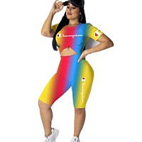 Champion Fashion New Letter Print Multicolor Gradient Sports Leisure Top And Shorts Two Piece Suit
