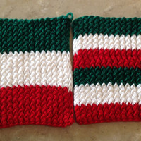 Italian Flag Italy Christimas Holiday Knitted Pot Holders Trivets