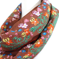 Floral Embroidered Silk Infinity Scarf
