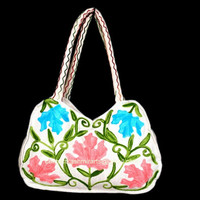White HandBag Embroidered/Tote/Purse/Custom made purse/Cotton Bag/Bling/Diaper/Ethnic handbag/Decorative Bag/Market Handbag/Maple leaf bag