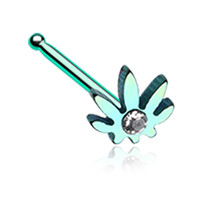 Colorline Cannabis Sparkle Nose Stud Ring - 20 G - Sold as a Pair