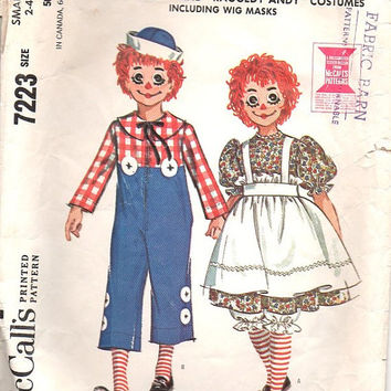 McCall's 60s Sewing Pattern Halloween Costume Raggedy Ann Andy Rag Doll Boy Girl Dress Up Size 2-4