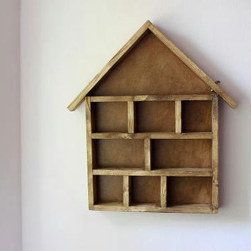 Handmade Wooden Display House- storage, shelving unit. Stained Wood