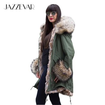 JAZZEVAR Women's Army Green Luxury Large raccon fur Collar Cuff Hooded Coat Parkas Outwear Camouflage long Winter Jacket coat