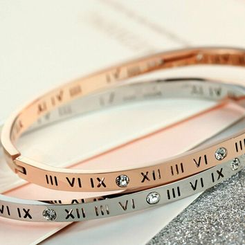 New 18K Rose Gold Hollowed Out Rome Digital Zircon Bracelets   171205