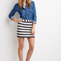 Texture-Striped Mini Skirt