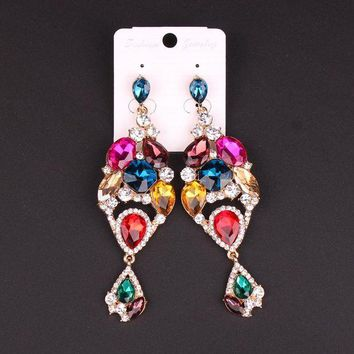 ac spbest New Fashion Indian Earrings Wedding Bridal Jewelry Crystal Statement Big Long Dangle Drop Earring Brinco Earings Gift For Women