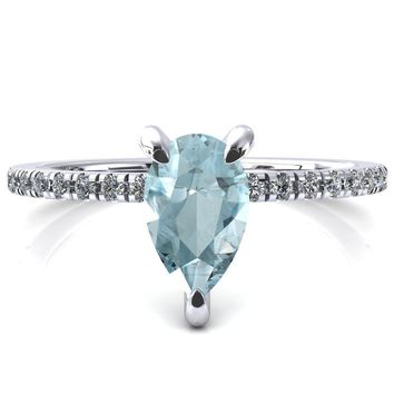 Mayeli Pear Aqua Blue Spinel 3 Claw Prong Micro Pave Diamond Sides Engagement Ring