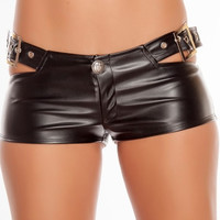 Buckle Leatherette Booty Shorts