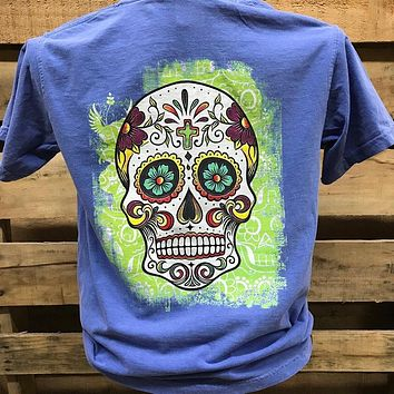 Southern Chics Apparel Sugar Skull Comfort Colors Girlie Bright T Shirt