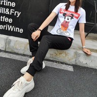 """Louis Vutitton × Supreme"" Women Casual Cartoon Mickey Letter Print Short Sleeve Trousers Set Two-Piece Sportswear"