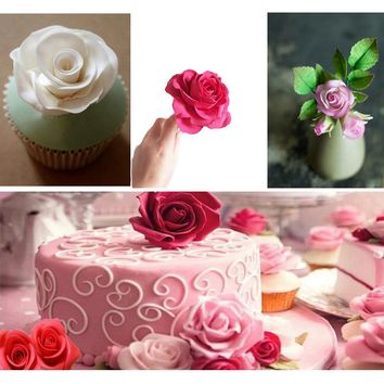 3PCS Fondant Cake Cookie Decorating Sugar Craft Cutter Rose Flower Mold For Decoration Handmade Kitchen Accessories DIY