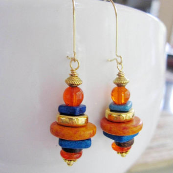 Fall Orange Bohemian Earrings, Gold dangles, Ocean Blue Greek Ceramic Beads, Stack Earrings