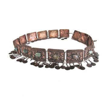 1970s Bohemian Metal Belt Fringe Belt Belly Dancer Belt Coin Belt Agates Polished Stones Belt Boho Hippie Gypsy Belt Copper Tassel Chains