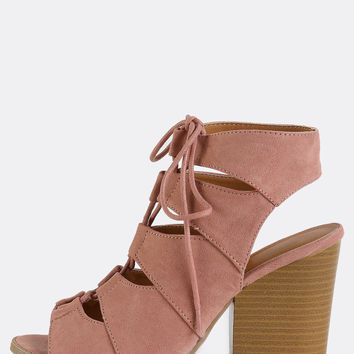 Faux Suede Lace Up Stacked Heels PINK | MakeMeChic.COM