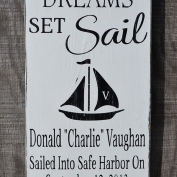Let Your Dreams Set Sail Nautical Nursery Birth Announcement Sign