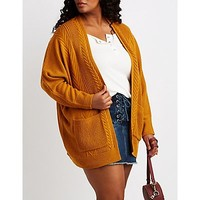 Plus Size Mixed Knit Open-Front Cardigan | Charlotte Russe
