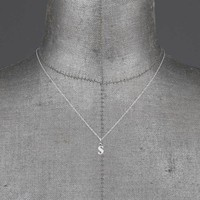 Initial S Silver Charm Necklace – REGALROSE