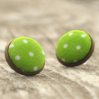 Stud Earrings - Green Apple On Wood Earring Studs - Green and White Polka Dots Fabric Buttons Jewelry - Fresh Earring Posts