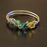 Birthstone Ring Mother's Day  Wire Wrapped by SassiChic on Etsy