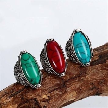 Rongxing Vintage Ethnic Fashion Jewelry Blue/Green/Red/White/Black Turquoise Gemstone Ring Unisex Accessories