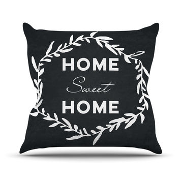 "KESS Original ""Home Sweet Home"" Black White Outdoor Throw Pillow"