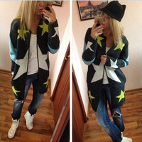 European Loose Long Cardigan Knit Print Sweater