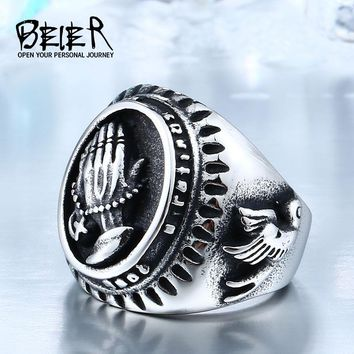 Hand Of God Ring Factory Price 316L Stainless Titanium Steel Bird Of Peace Jewelry Unique Man's Style BR8-267