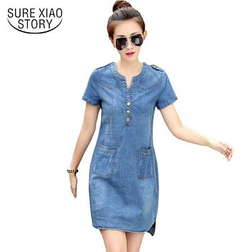 new arrival summer women denim dresses short sleeves loose A word dresses plus sizes v-neck solid denim dresses